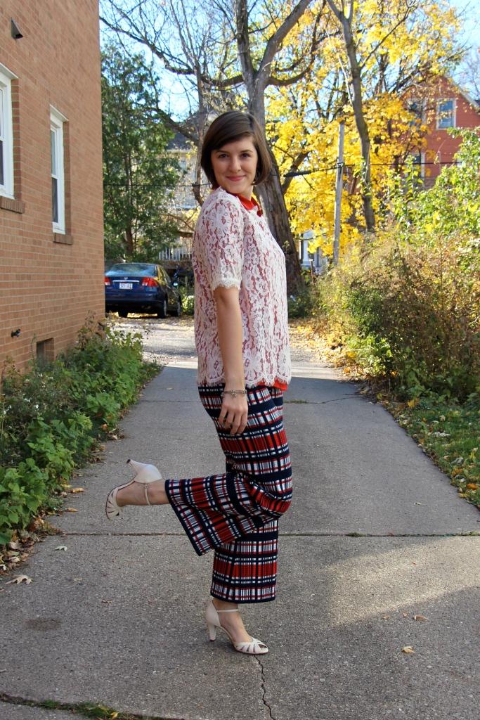 Plaid Wide Leg Trousers