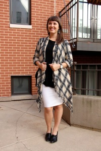 plaid open front poncho