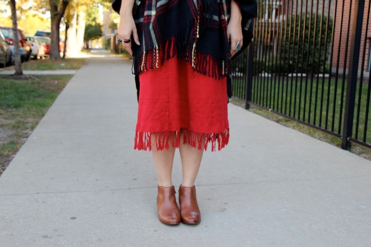 red fringe skirt