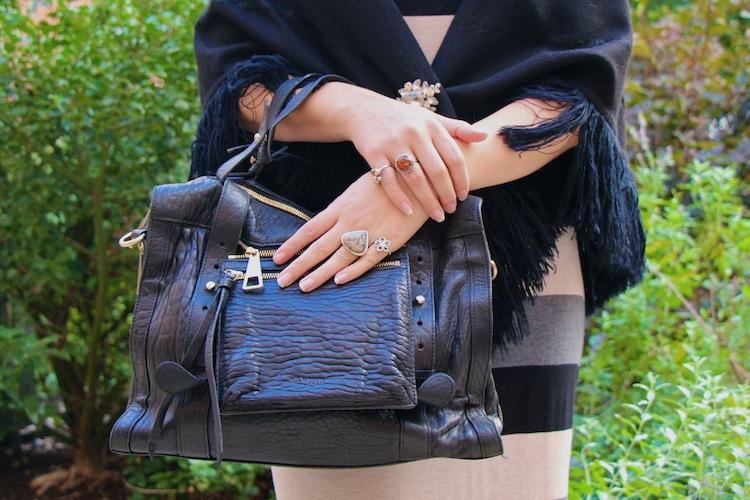 thrift black fringe poncho