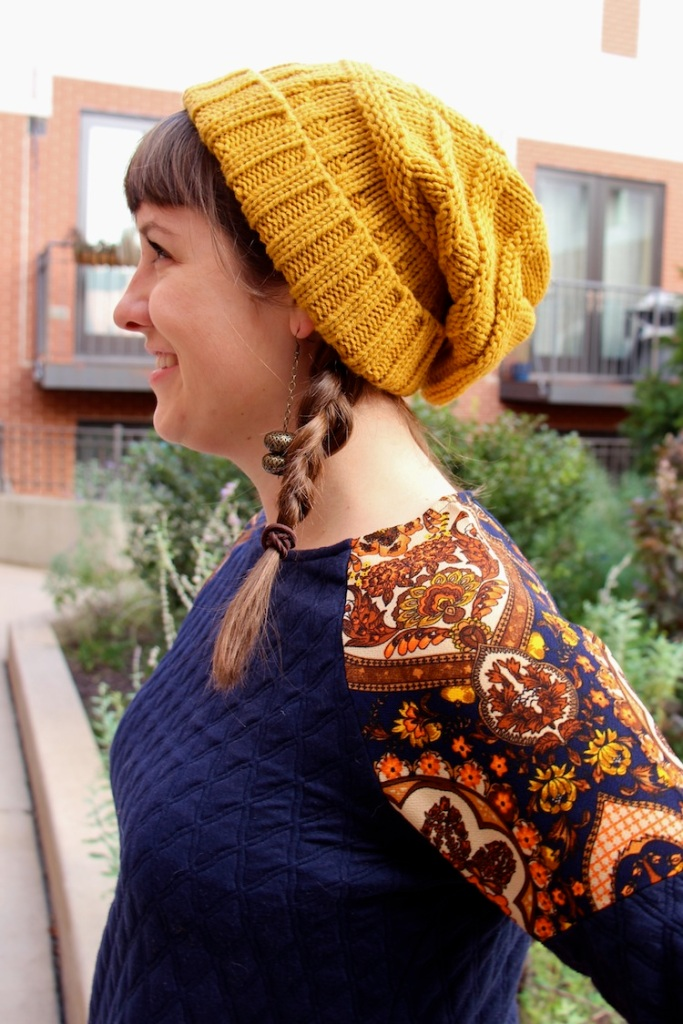 yellow knit beanie