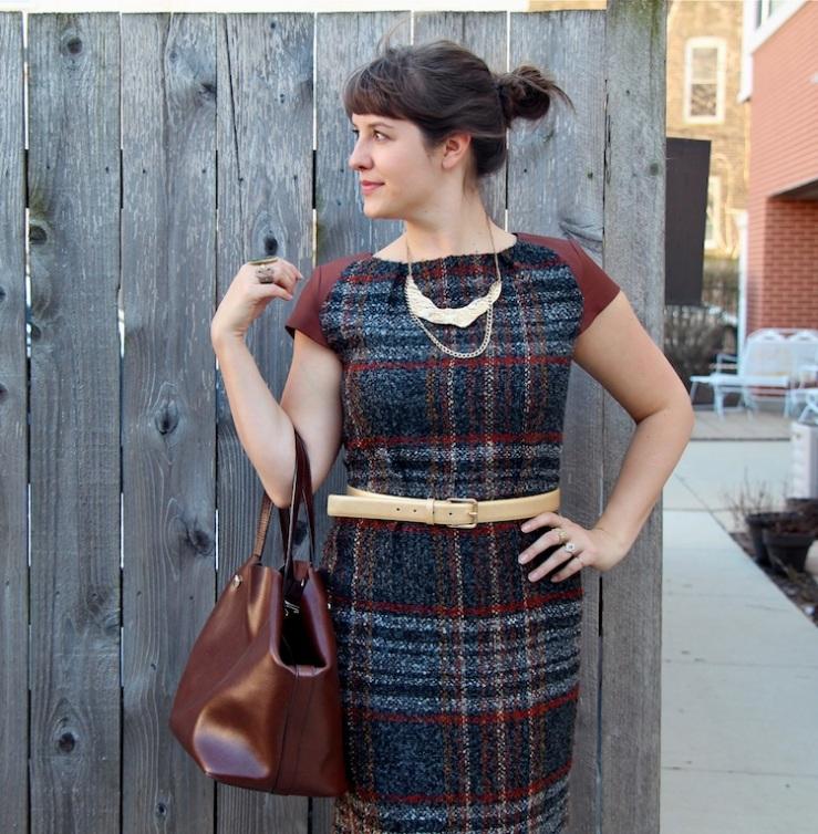 plaid leather dress 1