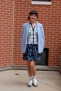 blue spring jacket and embroidered dress