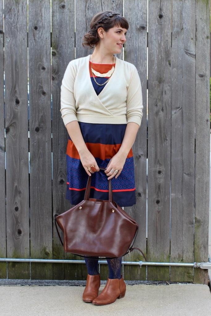 silk stripe dress and cardigan