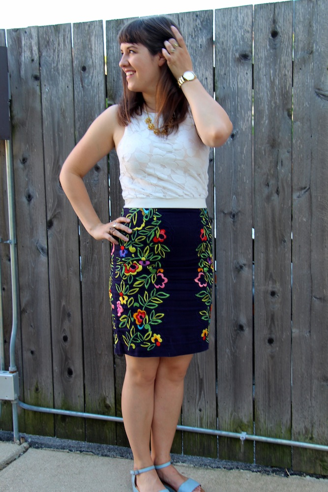 embroidered anthro skirt